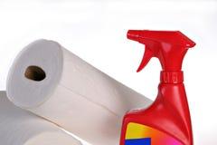 czyszczenie sprayem butelek Zdjęcie Royalty Free