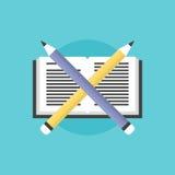 Czytać i uczenie proces płaska ikony ilustracja ilustracji