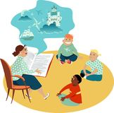 Czytać książkę dzieciaki royalty ilustracja