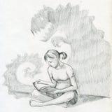 Czytać straszną książkę ilustracji