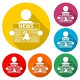 Czyta gazetową ikonę, kolor ikona z długim cieniem Obrazy Stock