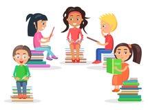 Czytający dzieciaka Siedzi na rozsypisku literatura na bielu ilustracja wektor