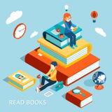 Czytający książki pojęcie ilustracji