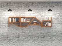 Czytający słowa bookcase na ściana z cegieł z podsufitowymi lampami Fotografia Royalty Free