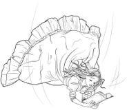 Czytelnicza dziewczyna w komarnicie ilustracja wektor