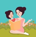 Czytelnicza książka przy ogrodową mamą i nią dzieciaka plenerowy dzieciństwo ilustracja wektor