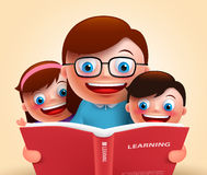Czytelnicza książka dla opowieści mówi szczęśliwym uśmiechniętym nauczycielem i dzieciakami Fotografia Stock