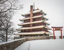 Czytelnicza pagoda w zimie Zdjęcia Royalty Free