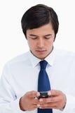 Czytelnicza tradesman wiadomość tekstowa zakończenie wiadomość tekstowa Zdjęcia Royalty Free
