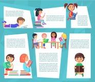Czytelniczy dzieci Siedzi i Kłama z książkami ilustracji