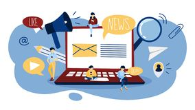 Czytelniczy wiadomości dnia i sprawdzać email na komputerze ilustracja wektor