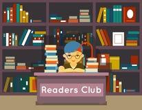 Czytelnika klub Edukacja i miłość czytanie royalty ilustracja