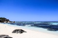 d'Argent塞舌尔群岛Anse的来源 免版税库存照片
