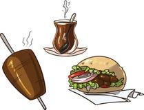 Döner Kebap met Turkse thee wordt geplaatst, kebap vleespen en Döner-sandwich die stock illustratie