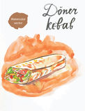 Döner kebab (kebap) royaltyfri illustrationer