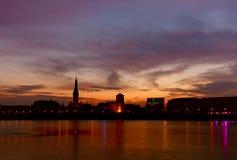 DÃ-¼ sseldorf bei Sonnenaufgang Stockfotos