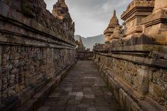 DÃa di EL del durante di Templo de Borobudur, Yogyakarta, Java, Indonesia fotografia stock libera da diritti