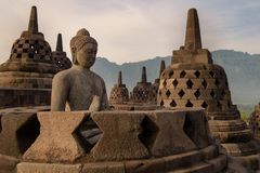 DÃa di EL del durante di Templo de Borobudur, Yogyakarta, Java, Indonesia immagini stock libere da diritti