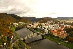 DÄ-› Ä  Ãn, Ansicht des Flusses Elbe und die Stadt Lizenzfreie Stockfotos