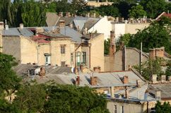 Dächer alter Stadt Odessas, berühmte europäische Stadt in Osteuropa Lizenzfreie Stockfotos