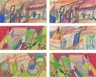 Dächer, Dörfer, zeichnend lizenzfreie abbildung