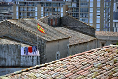 Dächer der Girona-Stadt, Katalonien, Spanien Stockbild