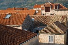 Dächer in Korcula lizenzfreie stockfotos