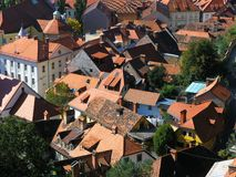 Dächer in Ljubljana Stockbild