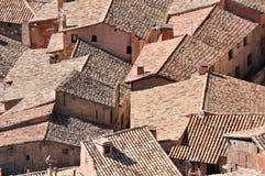 Dächer von Albarracin, mittelalterliche Stadt von Teruel, Spai Lizenzfreies Stockfoto