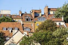 Dächer von Häusern der alten Stadt gezeigt in der Nahaufnahme Lizenzfreies Stockfoto