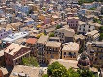 Dächer von Korfu Stockbild