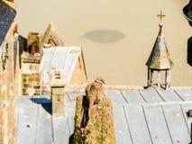 Dächer von Mont Saint-Michel, Frankreich Stockbild