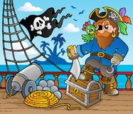 däck 2 piratkopierar shiptema Royaltyfri Bild