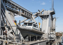 Däck av en USA-marinslagskepp Arkivbild