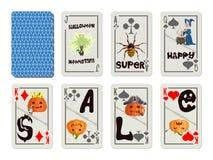 Däck av spela kort på försäljningen färgrika halloween royaltyfri illustrationer