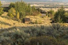 Dämmerung über dem großartigen Tetons von der Frühlings-Nebenfluss-Ranch Jackson lizenzfreies stockfoto