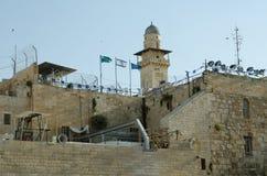 Dämmerung an der alten Ost-West-Jerusalem-Grenze Stockfotos