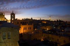 Dämmerung in der alten Stadt von Jerusalem Stockbild