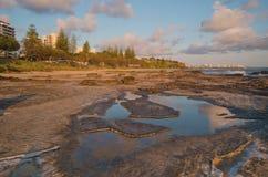 Dämmerung an der Sonnenschein-Küste Mooloolaba Stockbild