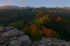 Dämmerung an der Spitze der Berge Lizenzfreies Stockfoto