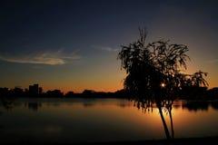 Dämmerung im Teich von Patos De Minas lizenzfreies stockbild