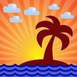 Dämmerung, Meer, Insel, Palme Lizenzfreie Stockfotos