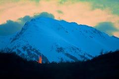 Dämmerung mitten in den Pyrenäen Stockfotos