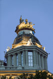 Dämmerung nahe Plaza de Cibeles, Madrid, Spanien Lizenzfreies Stockfoto