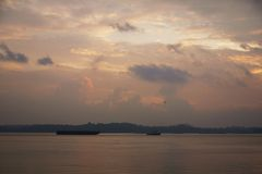 Dämmerung am Punggol-Punkt-Weg, Singapur lizenzfreies stockfoto