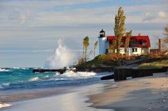 Dämmerung am Punkt Betsie Leuchtturm, Michigan USA Lizenzfreie Stockbilder
