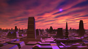 Dämmerung und UFO über der Stadt von Ausländern lizenzfreie abbildung