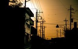 Dämmerungs-Sonnenuntergang-Wohnwohnungsbau stockfotografie