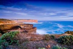 Dämmerungsansicht der großen Ozean-Straße Australien Lizenzfreies Stockfoto