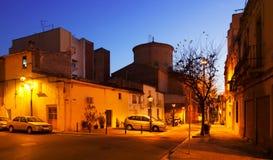 Dämmerungsansicht von Sant Adria de Besos. Katalonien Lizenzfreie Stockbilder